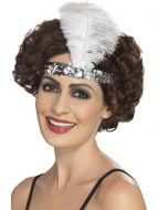 Flapper Headband, Silver, with Feather