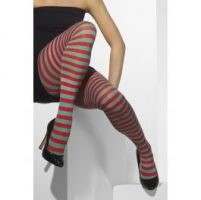 Opaque Tights Red and Green Striped