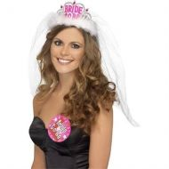 Bride to Be Tiara with Veil White with Pink Lettering