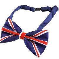 Adjustable Union Jack Flag style Silky Satin Bow Tie
