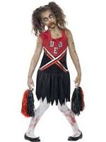 Zombie Cheerleader Costume, Red & Black, with Blood Stained Dress and Pom Poms
