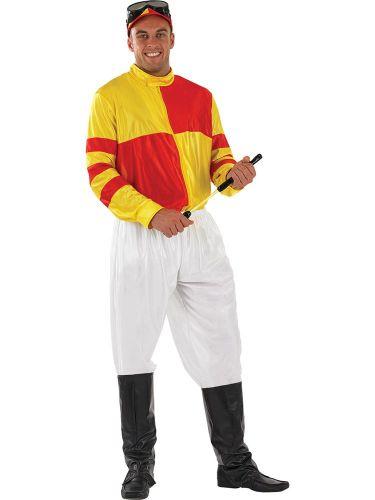 Adult Jockey Costume Red Yellow