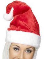Luxury Santa Fancy Dress Hat with fur and pom pom