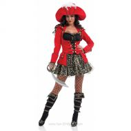 Women's Glitzy Pirate Fancy Dress Costume